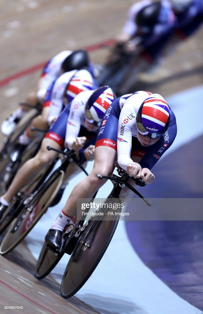 Katie Archibald with teammates from the GB Cycling women's