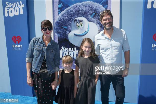 Katie Aselton and Mark Duplass with children at the premiere of Warner Bros Pictures' Smallfoot at the Regency Village Theatre on September 22 2018...