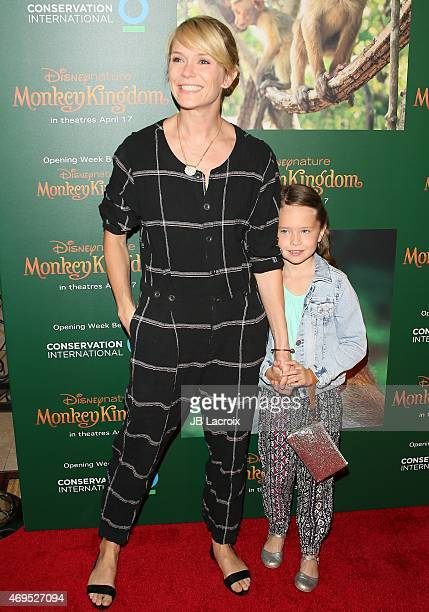 Katie Aselton and Ora Duplass attend the world premiere of Disney's 'Monkey Kingdom' at Pacific Theatres at The Grove on April 12 2015 in Los Angeles...