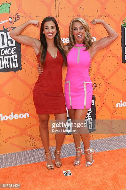 Katie Austin and Denise Austin arrive at the Nickelodeon Kids' Choice Sports Awards 2016 at the UCLA's Pauley Pavilion on July 14 2016 in Westwood...