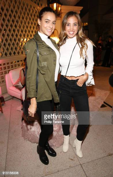Katie Austin and guest attend Victoria's Secret Ultimate Girls Night In with Angels Josephine Skriver and Romee Strijd at Peninsula Hotel on February...
