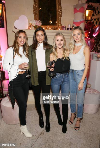 Katie Austin guest Whitney Janelle Young and Lauren Bushnell attend Victoria's Secret Ultimate Girls Night In with Angels Josephine Skriver and Romee...