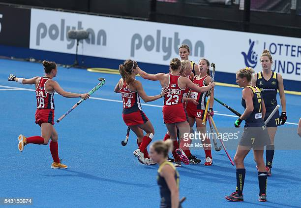 Katie bam of USA celebrates after scoring their second goal during the FIH Women's Hockey Champions Trophy 2016 3rd4th place match between Australia...