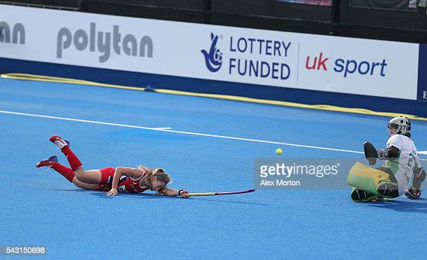 Katie Bam of USA scores their second goal during the FIH Women's Hockey Champions Trophy 2016 3rd4th place match between Australia and USA at Queen...