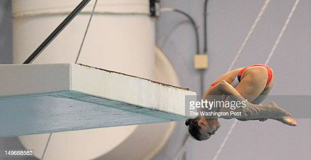 Katie Bell dives from the threemeter platform as the US Olympic Diving Team trains at the Eunice Kennedy and Sargent Shriver Aquatic Center in...