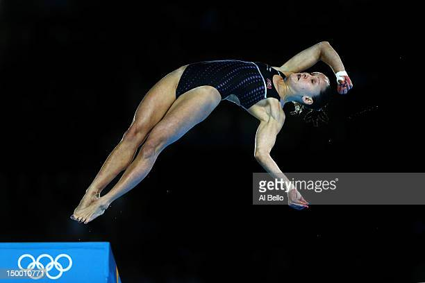 Katie Bell of the United States competes in the Women's 10m Platform Diving Preliminary on Day 12 of the London 2012 Olympic Games at the Aquatics...