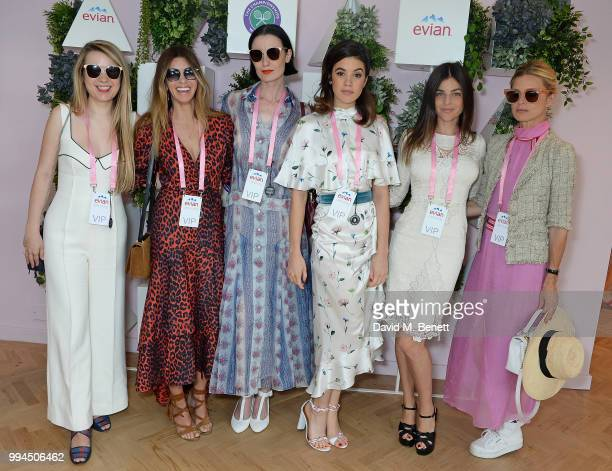 Katie Berrington Sarah MacDonald Erin O'Connor Gala Gordon Julia Restoin Roitfeld and Laura Bailey attend the evian Live Young Suite at The...