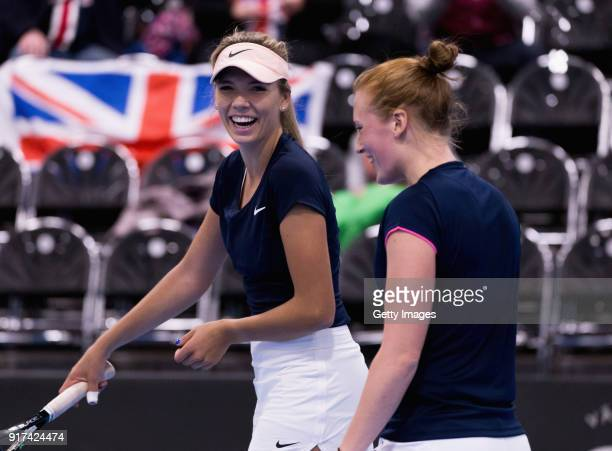 Katie Boulter and Anna Smith of Great Britain react during the Europe/Africa Group B match of the Fed Cup by BNP Paribas between Anna Smith and Katie...