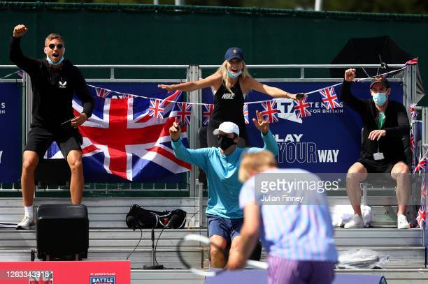 Katie Boulter Andy Murray and team mates of Union Jacks celebrate during day seven of the St James's Place Battle Of The Brits Team Tennis at...