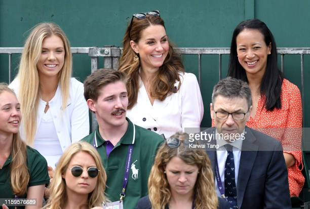 Katie Boulter Catherine Duchess of Cambridge and Anne Keothavong smile as they attend day 2 of the Wimbledon Tennis Championships at the All England...