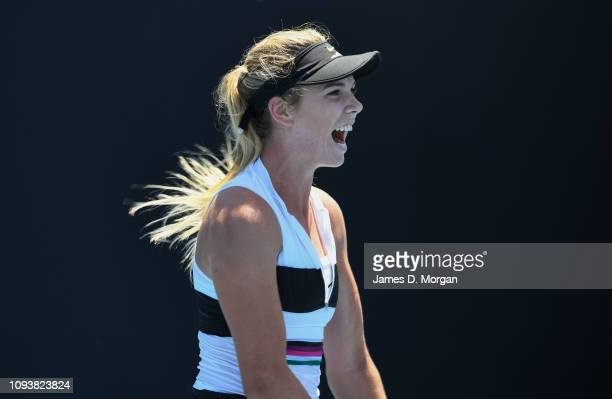 Katie Boulter of Britain reacts in her first round match against Ekaterina Makarova of Russia during day one of the 2019 Australian Open at Melbourne...