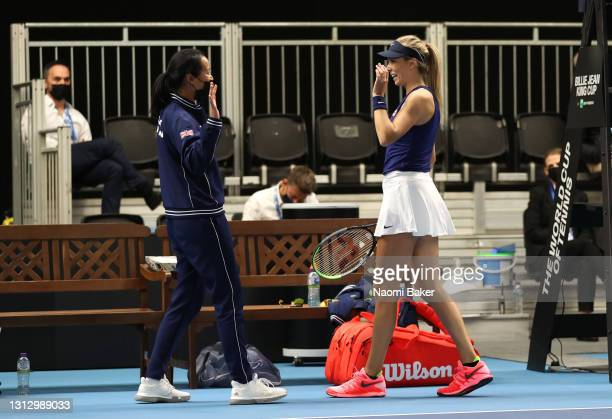 Katie Boulter of Great Britain and Great Britain's captain Anne Keothavong celebrate the win after match four between Katie Boulter of Great Britain...