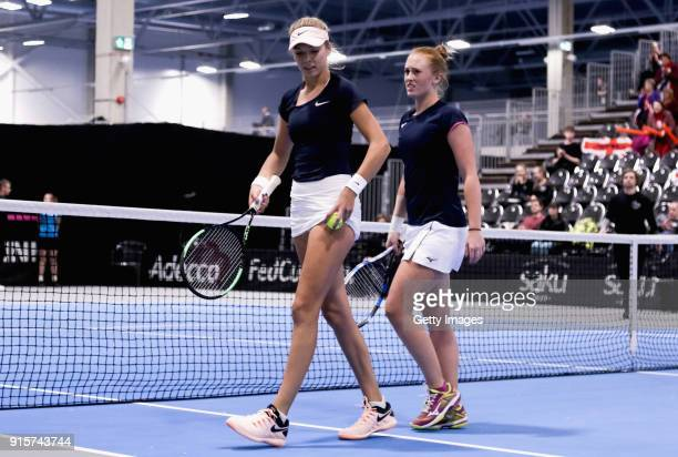 Katie Boulter of Great Britain celebrate with Anna Smith of Great Britain during the Davis Cup by BNP Paribas Europe/Africa Group B doubles match...