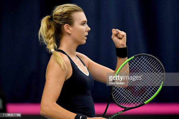 Katie Boulter of Great Britain celebrates a break point during her Europe/Africa Group A match against Valentini Grammatikopoulou of Greece on Day...