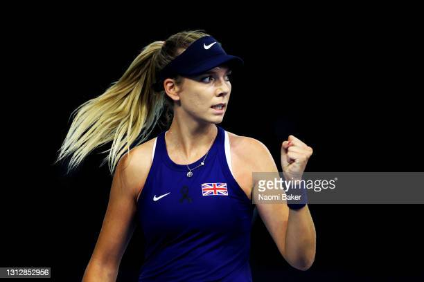 Katie Boulter of Great Britain celebrates a point during match one between Katie Boulter of Great Britain and Marcela Zacarías of Mexico during day 1...