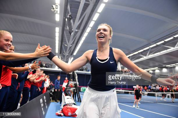 Katie Boulter of Great Britain celebrates after winning during Day Three of the Fed Cup Europe and Africa Zone Group I at the University of Bath on...