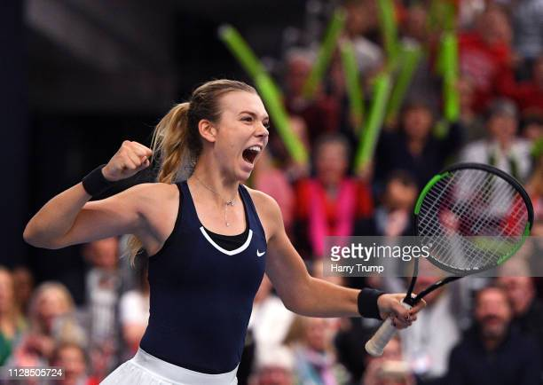 Katie Boulter of Great Britain celebrates after winning during Day Four of the Fed Cup Europe and Africa Zone Group I at the University of Bath on...