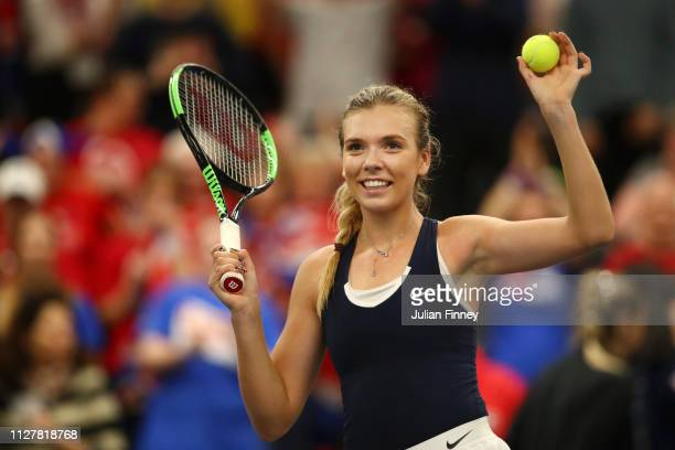 Katie Boulter of Great Britain celebrates after winning her round robin match against Kaja Juvan of Slovenia during Day One of the Fed Cup 2019 at...