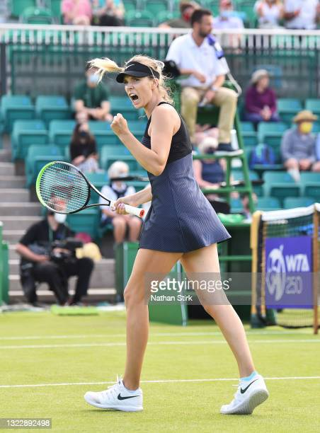Katie Boulter of Great Britain celebrates after winning the first set against Heather Watson of Great Britain during the Women's singles during the...