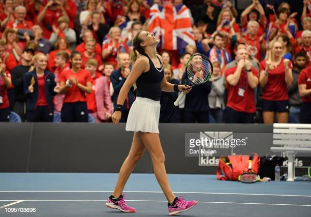 Katie Boulter of Great Britain celebrates after winning the Europe/Africa Group A match against Dalma Galfi of Hungary during Day Three of the Fed...