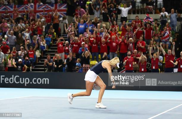 Katie Boulter of Great Britain celebrates defeating Zarina Diyas of Kazakhstan during the Fed Cup World Group II PlayOff match between Great Britain...