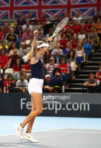 Katie Boulter of Great Britain celebrates defeating Zarina Diyas of Kazakhstan during the Fed Cup World Group II Play-Off match between Great Britain...