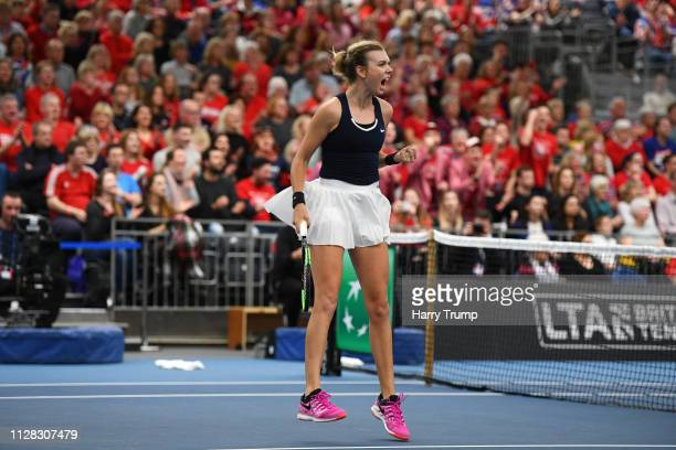 Katie Boulter of Great Britain celebrates during Day Three of the Fed Cup Europe and Africa Zone Group I at the University of Bath on February 08...