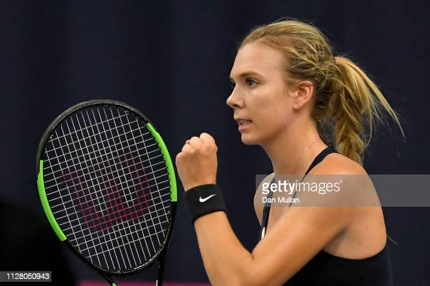 Katie Boulter of Great Britain celebrates set point during her Europe/Africa Group A match against Valentini Grammatikopoulou of Greece on Day Two of...