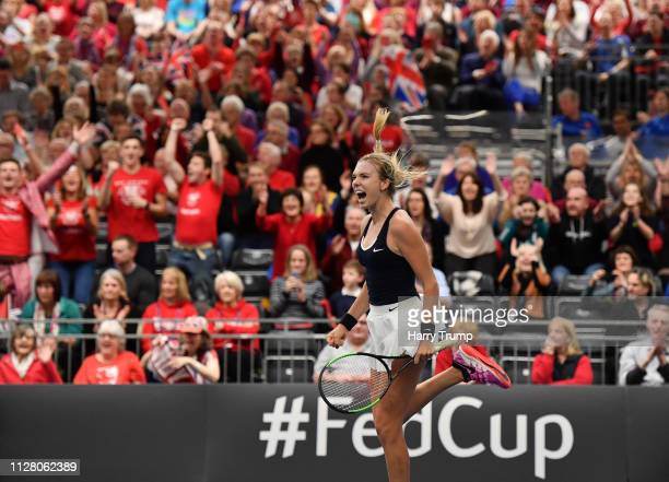 Katie Boulter of Great Britain celebrates victory during Day Two of the Fed Cup Europe and Africa Zone One Group I at University of Bath on February...
