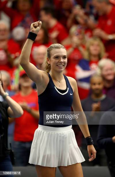 Katie Boulter of Great Britain celebrates victory in her promtional playoff match against Ivana Jorovic of Serbia on day four of the Fed Cup Europe...