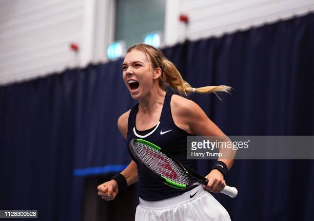 Katie Boulter of Great Britain celebrates winning during Day Three of the Fed Cup Europe and Africa Zone Group I at the University of Bath on...
