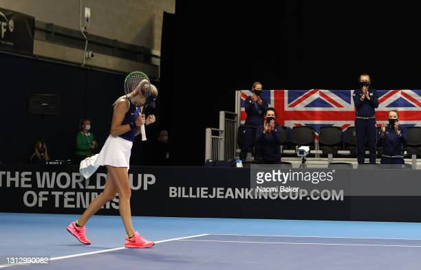 Katie Boulter of Great Britain celebrates winning match four between Katie Boulter of Great Britain and Giuliana Olmos of Mexico during day two of...