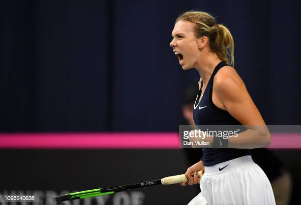 Katie Boulter of Great Britain celebrates winning the first set during the Europe/Africa Group A match against Dalma Galfi of Hungary during Day...