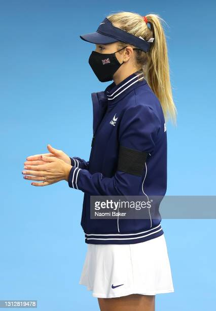 Katie Boulter of Great Britain during the Opening Ceremony during day 1 of the Billie Jean King Cup Play-Offs between Great Britain and Mexico at...