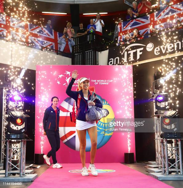 Katie Boulter of Great Britain enters the court before her match with Zarina Diyas of Kazakhstan during the Fed Cup World Group II Play-Off match...