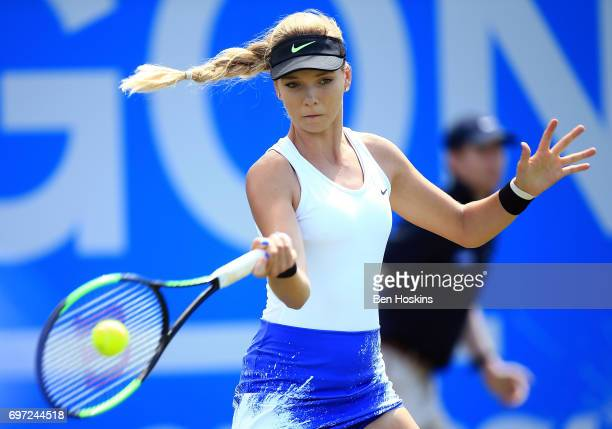Katie Boulter of Great Britain hits a forehand during the qualifying match against Sachia Vickery of The USA on day two of qualifying for the Aegon...