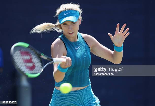 Katie Boulter of Great Britain in action against Priscilla Hon of Australia during their Quarter Final match on Day 7 of the Fuzion 100 Surbition...