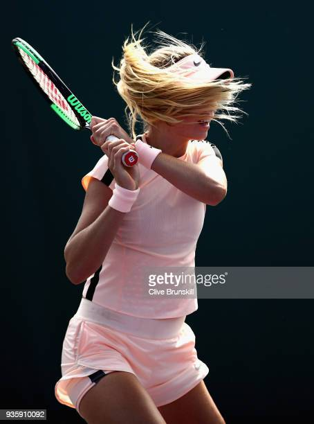 Katie Boulter of Great Britain in action against SuWei Hsieh of Taipei in their first round match during the Miami Open Presented by Itau at Crandon...
