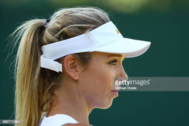 Katie Boulter of Great Britain looks on during her Ladies' Singles first round match against Veronica Cepede Royg of Paraguay on day two of the...