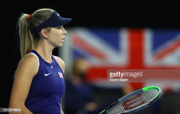 Katie Boulter of Great Britain looks on during match four between Katie Boulter of Great Britain and Giuliana Olmos of Mexico during day two of the...