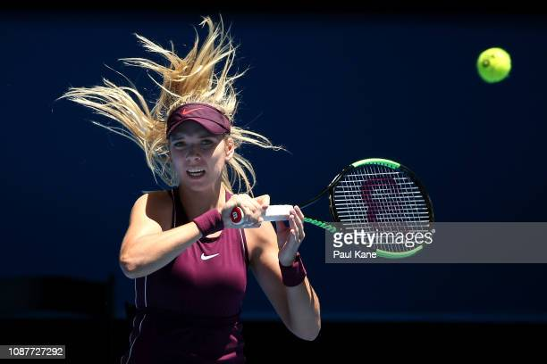 Katie Boulter of Great Britain plays a forehand in her match against Maria Sakkari of Greece during day one of the 2019 Hopman Cup at RAC Arena on...