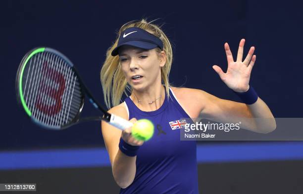 Katie Boulter of Great Britain plays a forehand shot during match one between Katie Boulter of Great Britain and Marcela Zacarías of Mexico during...