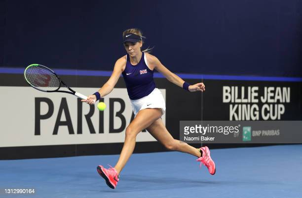 Katie Boulter of Great Britain plays a forehand shot during match four between Katie Boulter of Great Britain and Giuliana Olmos of Mexico during day...