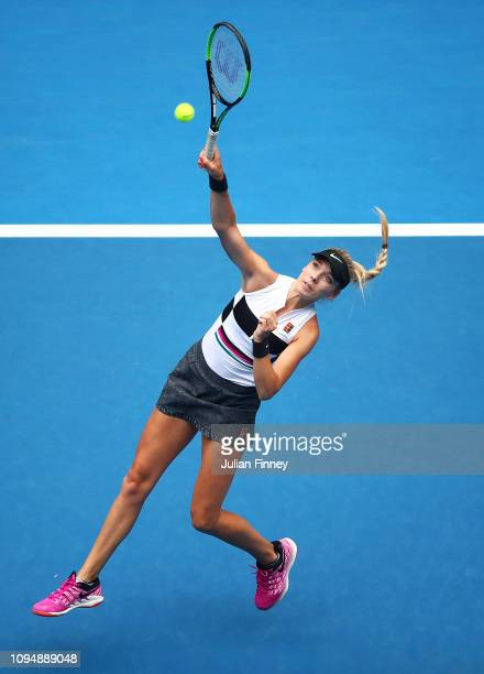 Katie Boulter of Great Britain plays a smash in her second round match against Aryna Sabalenka of Belarus during day three of the 2019 Australian...