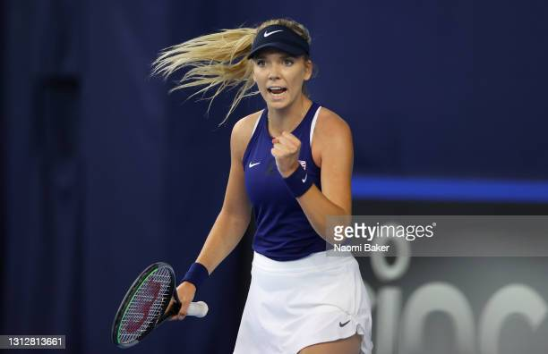 Katie Boulter of Great Britain reacts to winning a point during match one between Katie Boulter of Great Britain and Marcela Zacarías of Mexico...