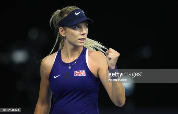 Katie Boulter of Great Britain reacts to winning the first game during match one between Katie Boulter of Great Britain and Marcela Zacarías of...