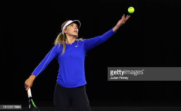 Katie Boulter of Great Britain serves during a preview day of the Billie Jean King Cup Play-Offs between Great Britain and Mexico at National Tennis...