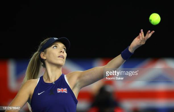 Katie Boulter of Great Britain serves during match four between Katie Boulter of Great Britain and Giuliana Olmos of Mexico during day two of the...