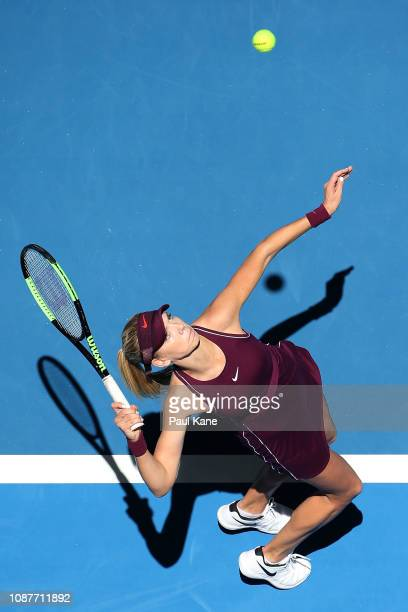 Katie Boulter of Great Britain serves in her match against Maria Sakkari of Greece during day one of the 2019 Hopman Cup at RAC Arena on December 29...