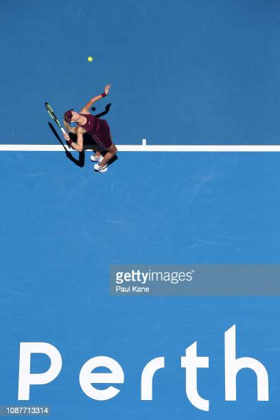 Katie Boulter of Great Britain serves in her match against Maria Sakkari of Greece during day one of the 2019 Hopman Cup at RAC Arena on December 29,...